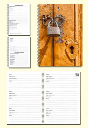 Internet Password Organiser A5 Book Cover image gold door with padlock Gift