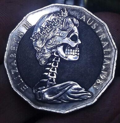 Coalburn classic Hobo Nickel engraved skull   Morgan Dollar silver OHNS