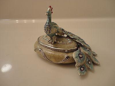 Crystal Jeweled Enameled Peacock Trinket Box