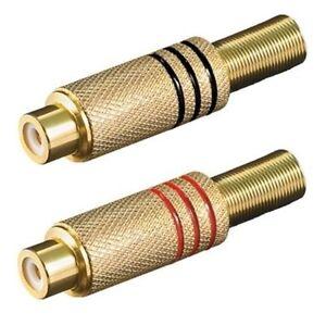 2Stk-Chinch-RCA-Stecker-vergoldete-Kupplung-Buchse-weiblich-zum-Loeten-Loetversion