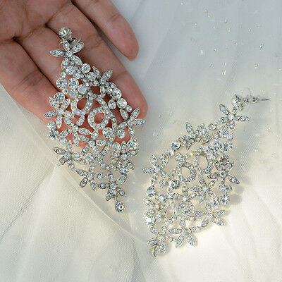 Long Wedding Flower Leaf Pierced Dangle Earring Clear Austrian Crystal -E109