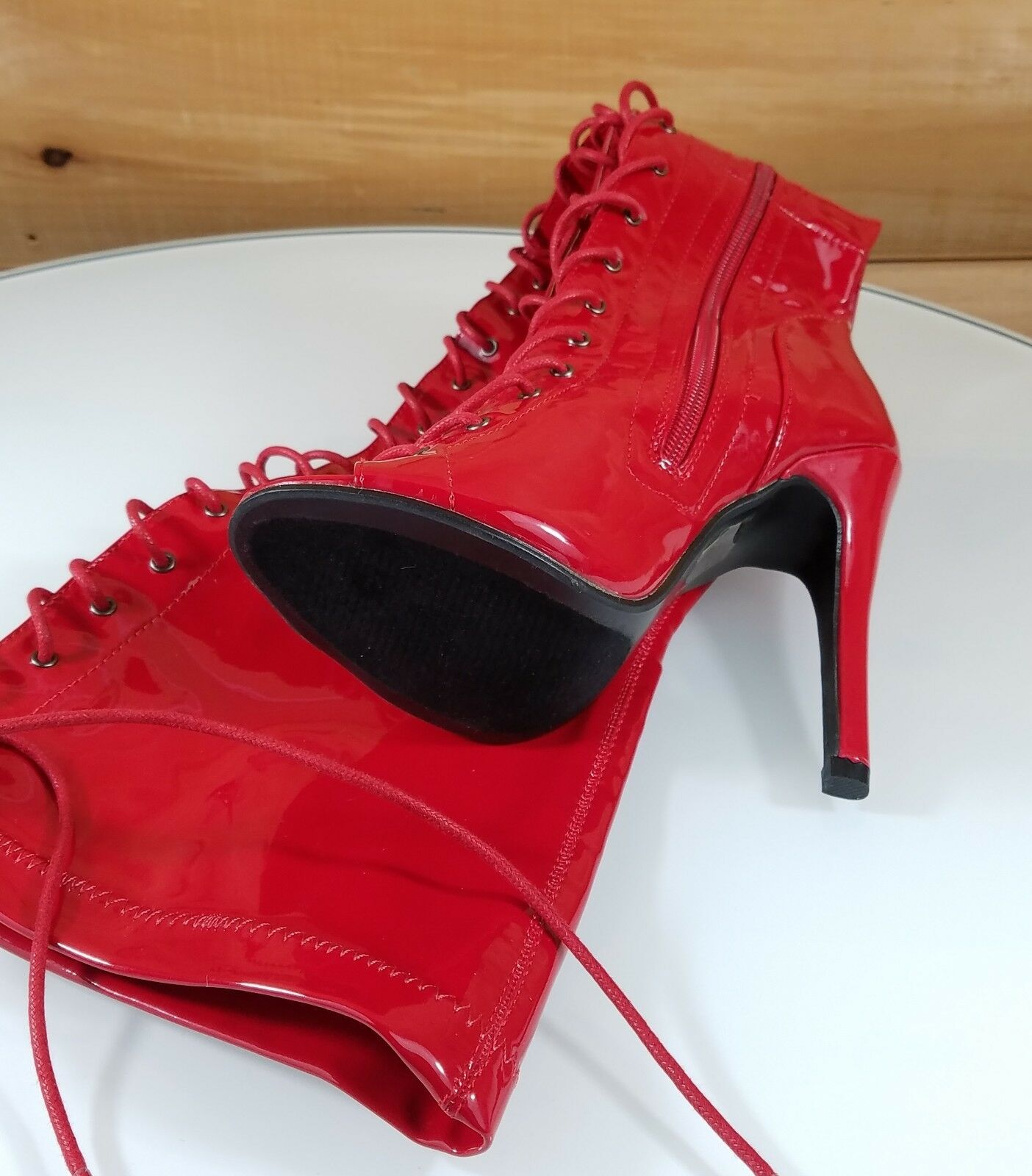 Top Show ROT Patent Open Up Toe High Heel Lace Up Open OTK Thigh Stiefel 5-10 d9db02