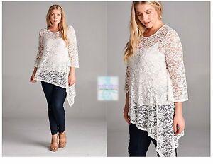7dfa6209b94 Women Plus Size Lace 3/4 Sleeve Tunic Top Blouse Shirt Casual Boho ...