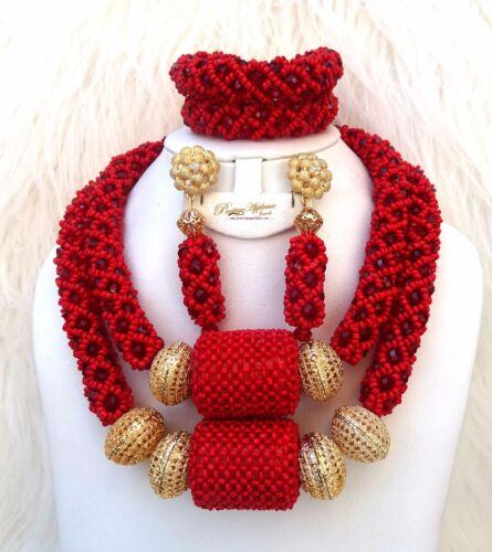 Prestigeapplause Rosso 2 strati Nuziale africana Perline Nigeriana Gioielli Set