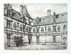 ORIGINAL-ETCHING-Eau-Forte-France-Castle-Montal-View-in-Courtyard