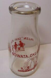 Old Vintage 1943 PALEN DAIRY MILK BOTTLE HALF PINT RED PYROGLAZE NOWATA OKLAHOMA