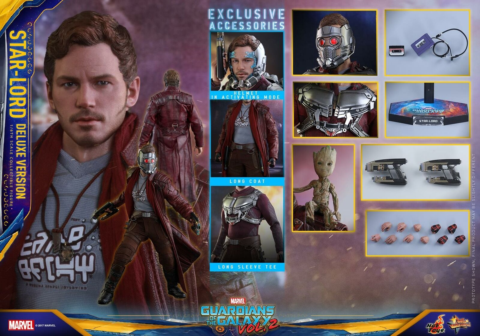 (US) Hot Toys 1 6 Guardians of The Galaxy Vol.2 MMS421 Star-Lord Deluxe Set