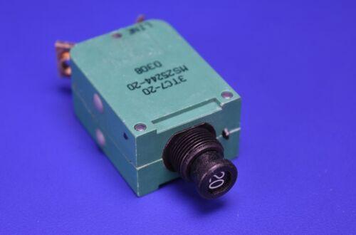 Klixon Mil-Spec Circuit Breaker 20A MS25244-20 Aircraft Aviation Part