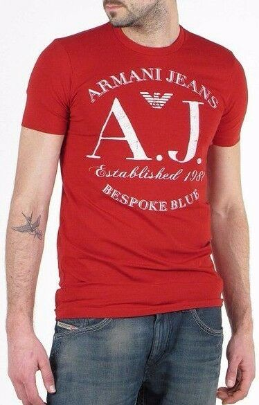 Armani Jeans Mens White AJ Icon Logo Red H S Tshirt - Sz XXL & XXXL BNWT