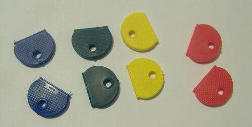 LOT OF EIGHT ASSORTED COLOR KEY IDENTIFIER CAPS IDENTIFICATION FOR KEYS