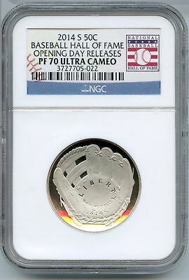 NGC  PF69 UCAM  PROOF 69 FIRST RELEASES HALL OF FAME 2014-S BASEBALL Clad HALF