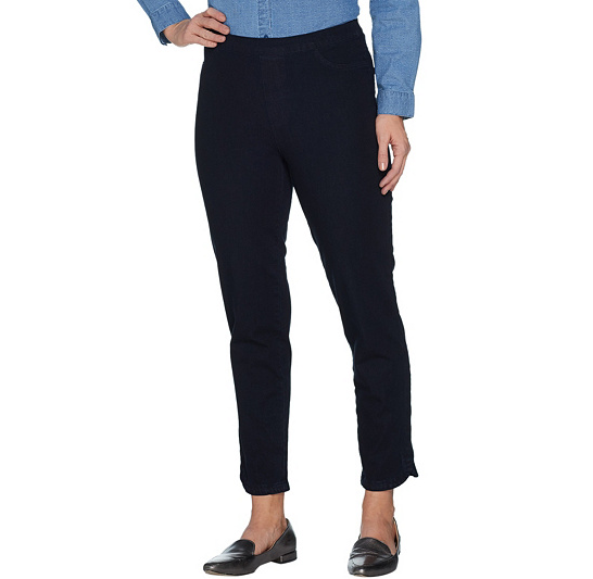 Isaac Mizrahi Live 24/7 Denim Pull-On Ankle Jeans Color Dark Indigo Tall Size 10