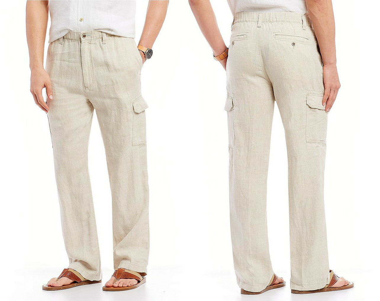 Caribbean Men's Solid 100% Linen Cargo Flat Front Drawstring Pants in Natural