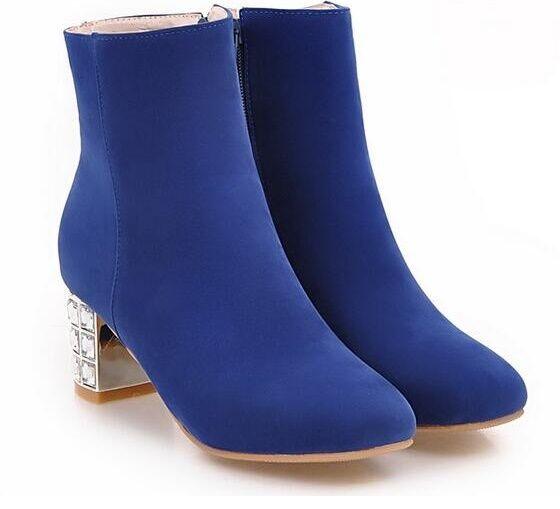 Nuevos zapatos para hombres y mujeres, descuento por tiempo limitado botas tacón de aguja zapatos de tacón mujer 6 cm azul cómodo como piel 8826
