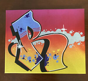"""Graffiti """"R"""" 8 x 10 Original Painted Canvas One Of A Kind"""