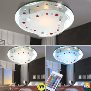 rgb led deckenleuchte chrom k chen fernbedienung spiegelglas farbwechsel lampe ebay. Black Bedroom Furniture Sets. Home Design Ideas
