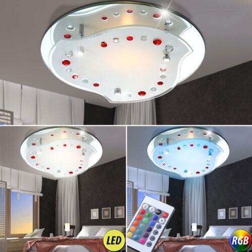 LED Spiegel Decken Lampe Wohn Ess Zimmer RGB Fernbedienung Glas Leuchte dimmbar