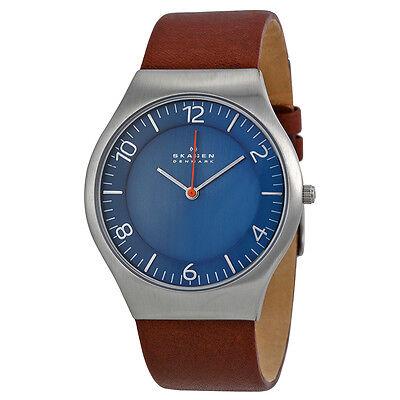 Skagen Grenen Blue Dial Brown Leather Mens Watch SKW6112