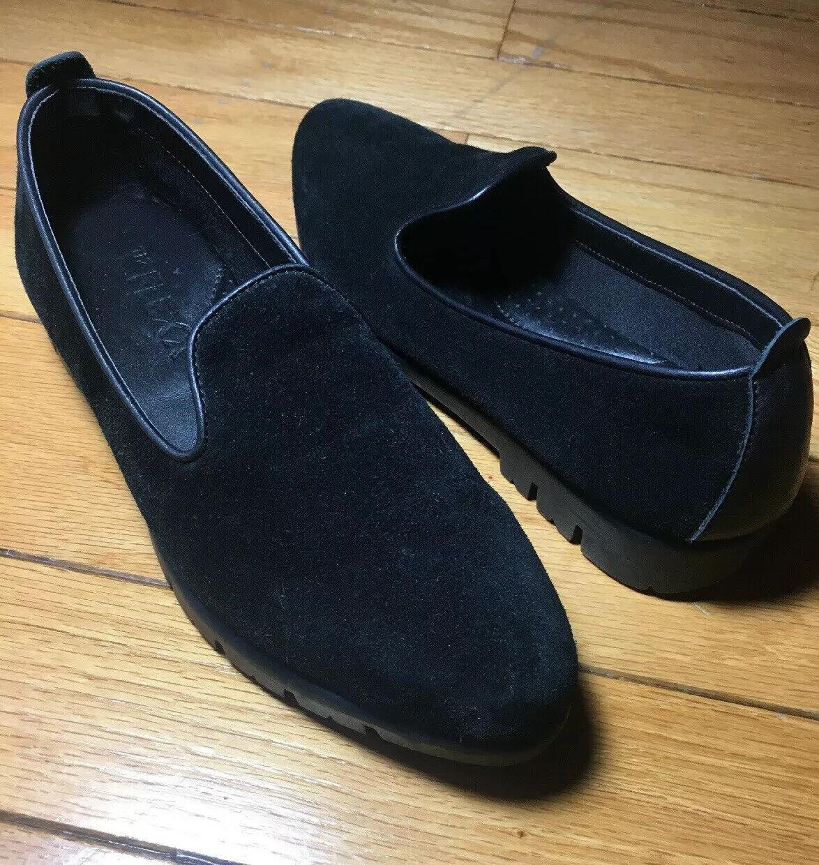 The Flexx 258423 black suede smoking loafer comfort shoe ladies 6 1/2