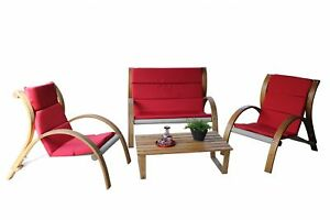 7tlg Leco Holz Sitzgruppe Rustik Garten Lounge Tisch Sessel Stuhl