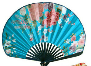Chinese Bamboo Folding Silk HAND FAN blue Flowers Wedding Party Or Holiday Gift