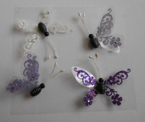 BEAUTIFUL LILAC /& WHITE BUTTERFLIES EMBELLISHMENTS FOR CARDS AND CRAFTS