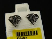 10k Black Gold Black Diamond Hexa Stud Earrings 8 Mm on sale