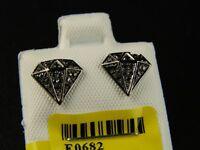 10k Black Gold Black Diamond Hexa Stud Earrings 8 Mm on sale