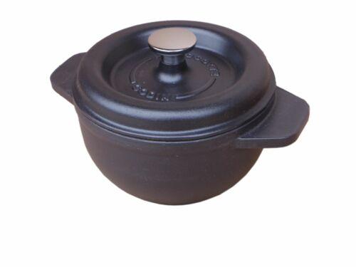 GODIN Kasserolle schwarz Bräter aus Gusseisen rund Ø 17 cm 1,5 Liter Schmortopf