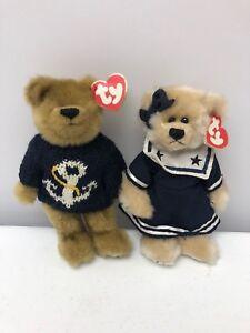 Cute Set Of 2 Ty Beanie Babies Anchors Away Salty   Breezy Sailor ... 18086991ca6