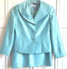 Le Suit Skirt Suit 12 Petite Blue MOB Church Wedding Guest Rayon Blend