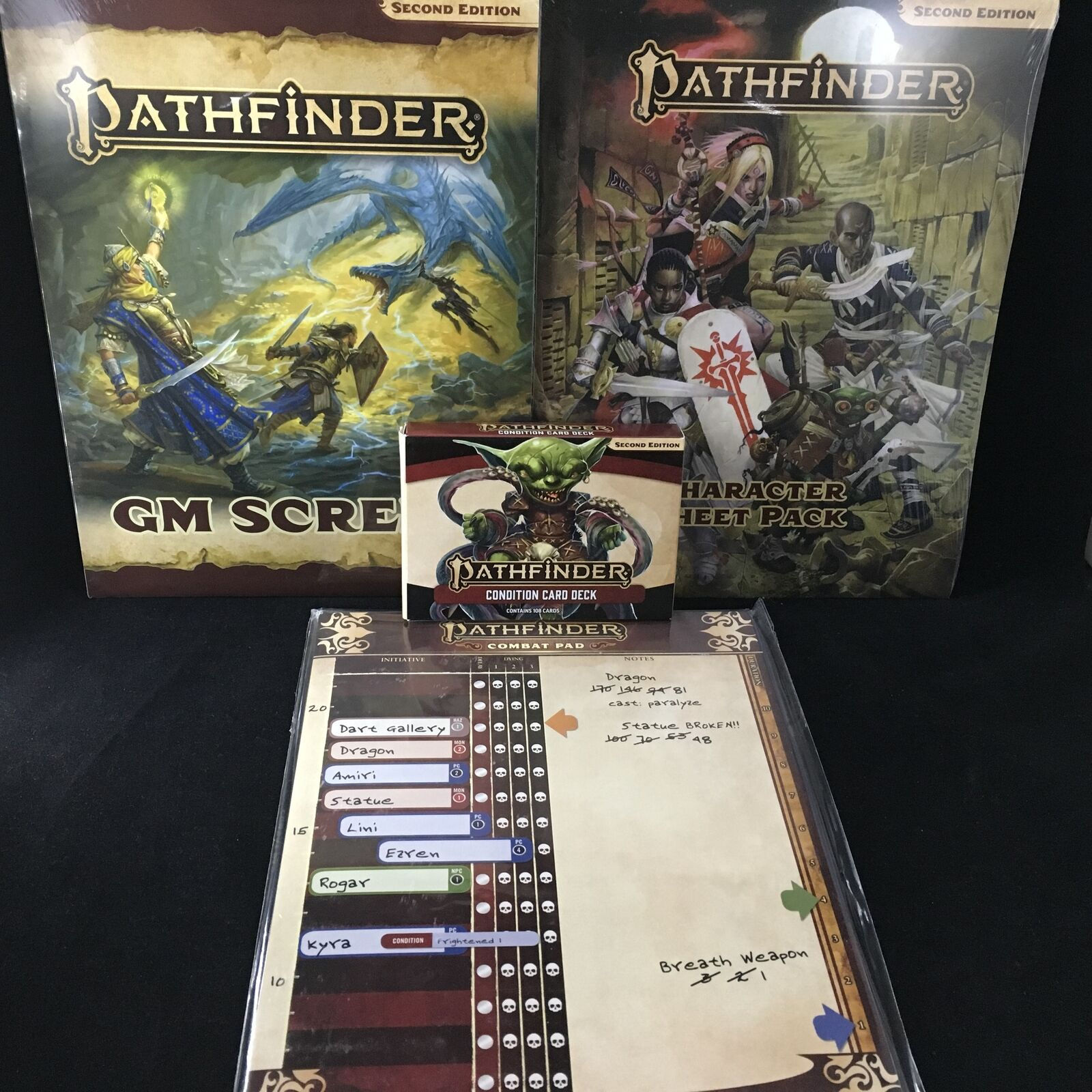 PATHFINDER RPG 2E  GM Screen, Character Sheets, Condition Cards, & Combat Pad...