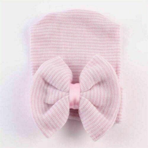 Newborn Baby Cotton Bow Soft Stretchy Hospital Hat Beanie Infant Girl Boy Kid UK