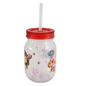 Childrens Character Plastic Mason Jar With Lid Straw Choose