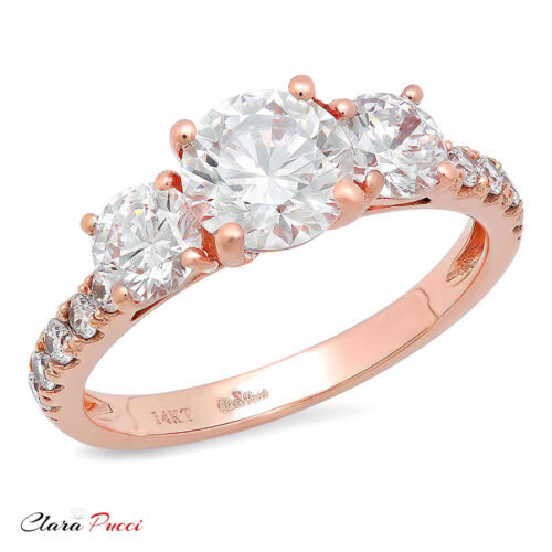 2ct Round Cut 3-Stone Engagement Wedding Bridal Promise Ring Solid 14k Rose Gold