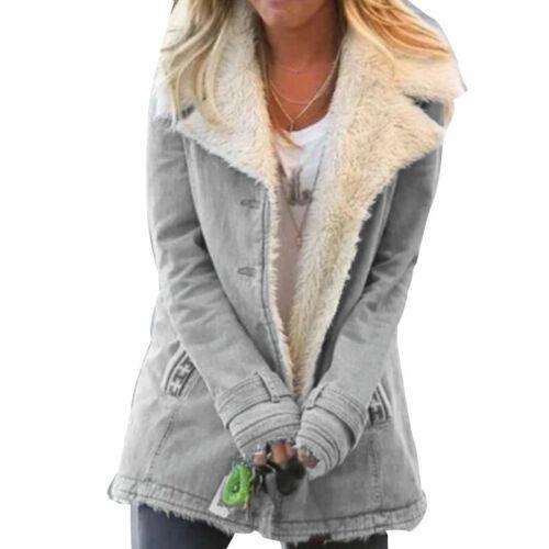 Women Long Coat Parka Fleece Jacket Ladies Winter Warm Faux Fur Overcoat Outwear