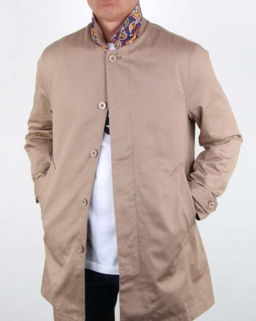 yet not vulgar buy cheap outlet Pretty Green Glendon Mac in Sand - paisley collar pop, long coat jacket