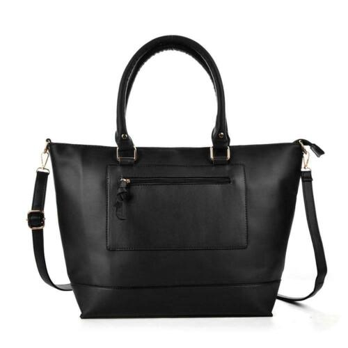 Designer Inspired Women/'s Faux Leather Zip Pocket Large Shopping Handbag