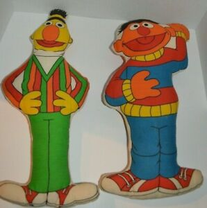 Details About Vintage 1970 S Muppets Inc Sesame Street Bert And Ernie Stuffed Pillow Dolls