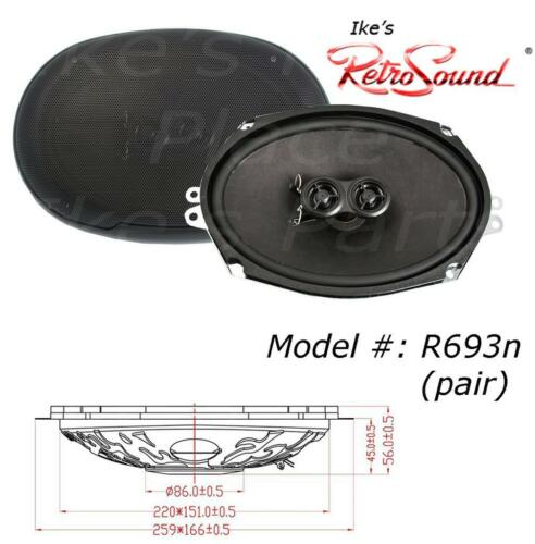 "1-Pair RetroSound RetroMod® R-693N 200 Watt 2-way  6x9/"" Speakers with Grills"