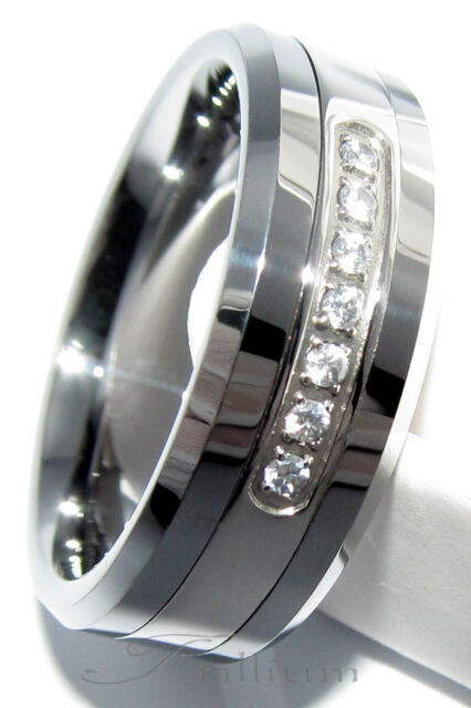 Tungsten Carbide Wedding Ring 7 CZ Band 8MM - Size 7.5 to 14.5