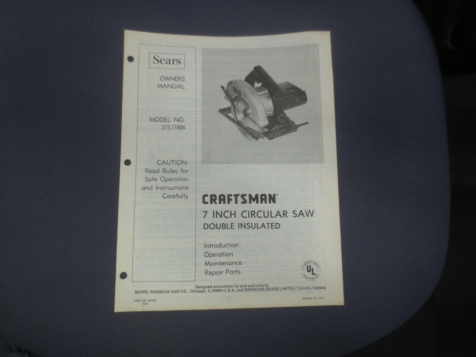 ☆ 1976 Sears Craftsman Owners Manual 7