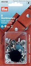 Prym 8 Hohlnieten Nieten Hohlniete 6 - 9 mm silberf.  Knöpfe Leder Tasche 403152