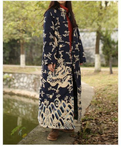 Vintage Womens Collar Long Quilted Jacket Chinese Qipao Dargon Robe Coat Outwear