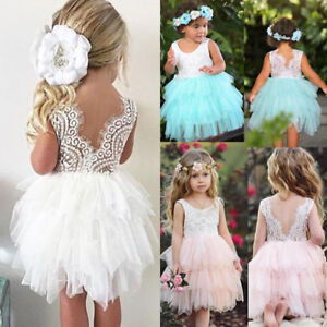 Image Is Loading Uk Toddler Kid Baby S Lace Backless Party