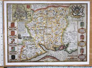 """Old Tudor map of Dorset John Speed 1600/'s 15/"""" x 11/"""" England Reprint"""