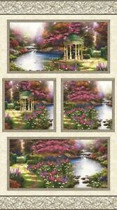 Garden-Prayer-Floral-Thomas-Kinkade-Cotton-Quilting-Fabric-Panel