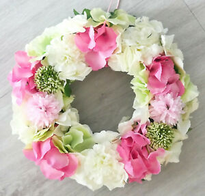 Tuerkranz-Hortensien-rosa-pink-weiss-gruen-30cm-Kranz-Fruehling-Tischkranz-Sommer