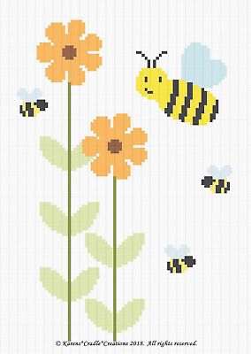 Crochet Patterns DAISY FLOWERS with BEE and BIRD Color Graph Pattern