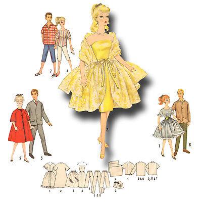 Vintage 1960s WEEKEND WARDROBE Doll Pattern ~ Barbie Christie PJ Tammy Midge